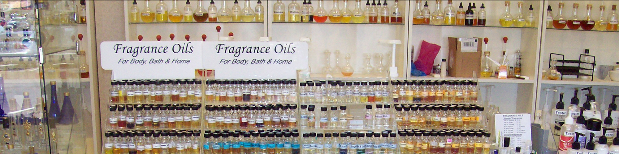 Display of Fragrance Oils